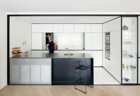 Room, White, Floor, Major appliance, Interior design, Glass, Countertop, Cupboard, Kitchen appliance, Kitchen,