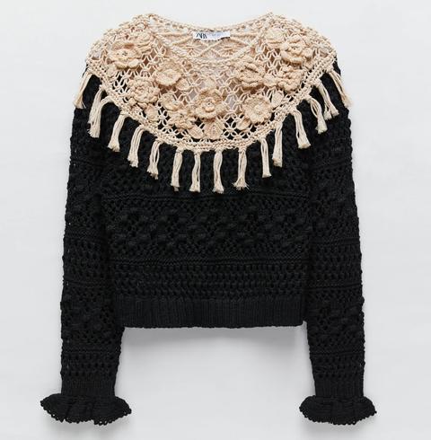 zara jersey crochet