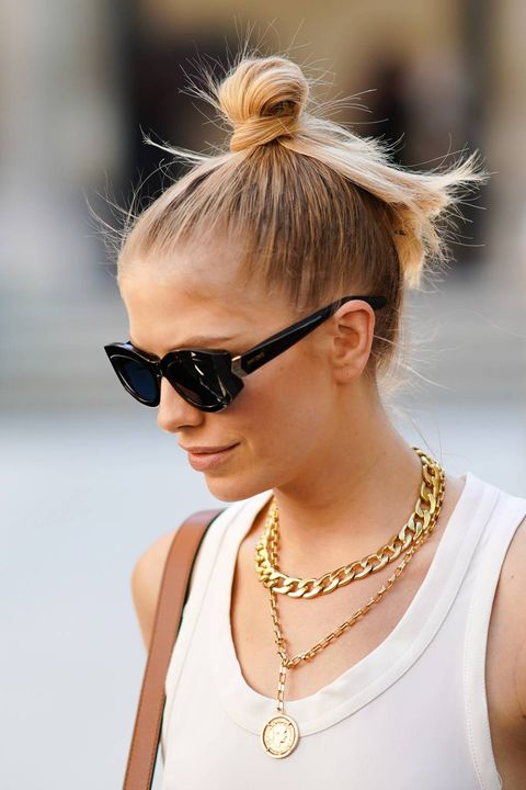 woman with top knot