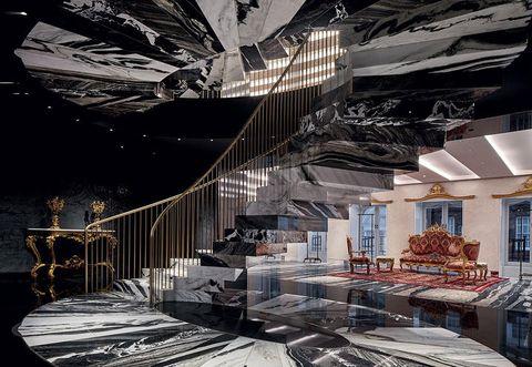 Architecture, Interior design, Room, Ceiling, Building, Stairs, House, Design, Furniture, Floor,