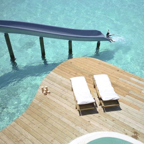 Leisure, Sunlounger, Swimming pool, Outdoor furniture, Design, Furniture, Room, Architecture, Wood, Vacation,