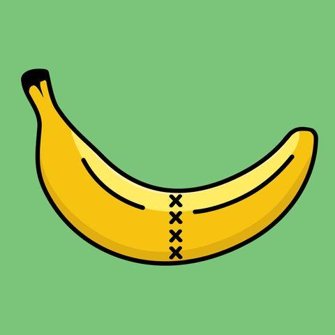 Banana family, Banana, Yellow, Plant, Cooking plantain, Fruit, Line, Saba banana, Smile, Illustration,