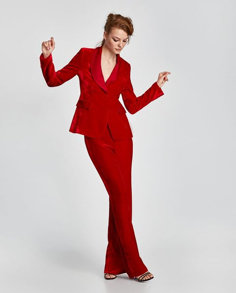 Clothing, Suit, Red, Formal wear, Standing, Pantsuit, Fashion model, Tuxedo, Dress, Photography,
