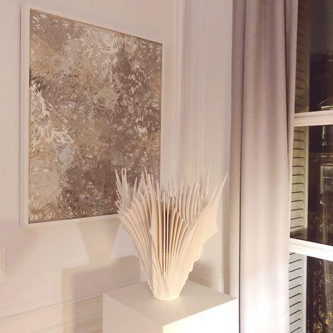 Interior design, Room, Curtain, Beige, Material property, Floor, Textile, Architecture, Window, Furniture,