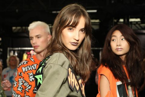 'Marbleised' To Metallic Pink - Outrageous Lip Art Is Everywhere At NYFW SS19 make-up trends