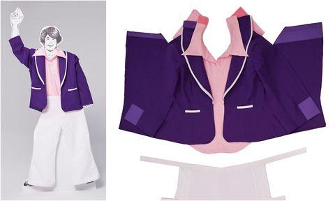 Clothing, Purple, Outerwear, Suit, Uniform, Formal wear, Blazer, Violet, Jacket, School uniform,