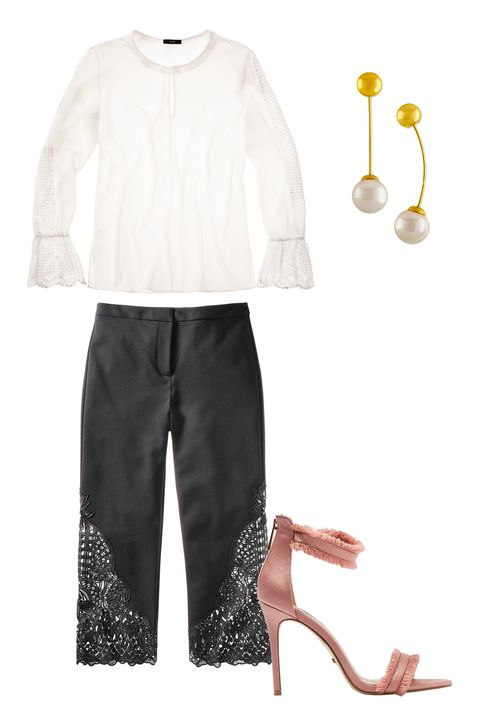 White, Clothing, Sleeve, Trousers, Footwear, Outerwear, Beige, Blouse, Shoe, Suit,
