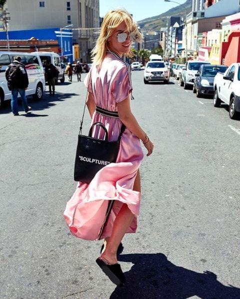 Pink, Street fashion, Clothing, Fashion, Snapshot, Footwear, Blond, Dress, Infrastructure, Street,