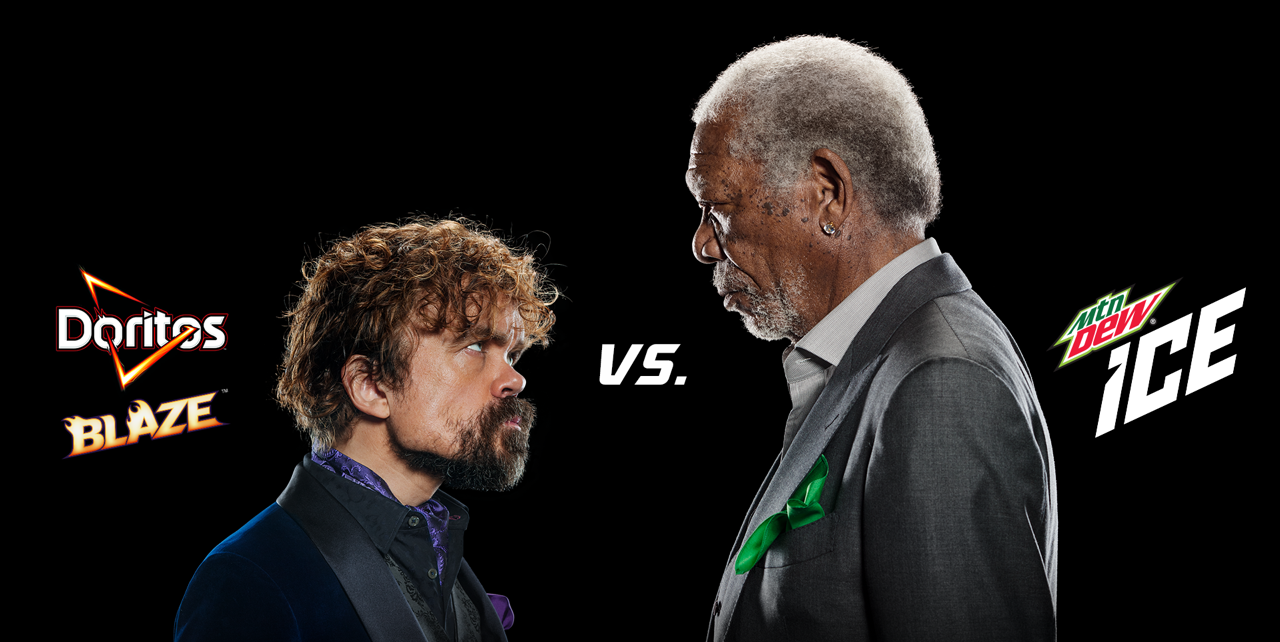 Peter Dinklage and Morgan Freeman in Super Bowl ad