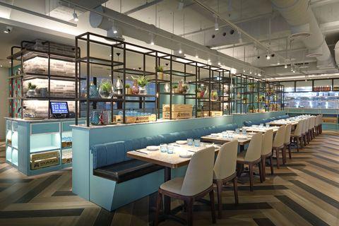 Building, Interior design, Room, Restaurant, Architecture, Furniture, Table, Cafeteria,