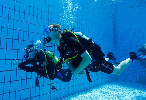 Scuba diving, Underwater diving, Divemaster, Diving equipment, Underwater, Dry suit, Diving mask, Recreation, Swimfin, Buoyancy compensator,