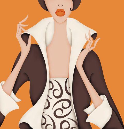 Cartoon, Orange, Illustration, Outerwear, Animation, Art, Style, Fictional character, Fashion illustration, Fashion design,