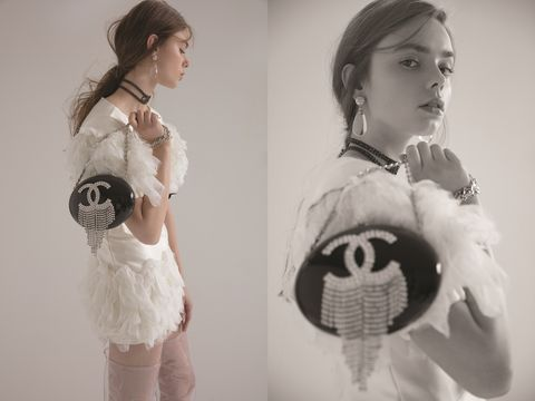 White, Shoulder, Fashion, Fur, Joint, Headpiece, Dress, Vintage clothing, Black-and-white, Outerwear,