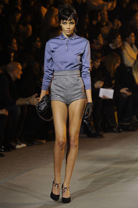Fashion model, Fashion show, Fashion, Runway, Clothing, Thigh, Leg, Fashion design, Public event, Model,