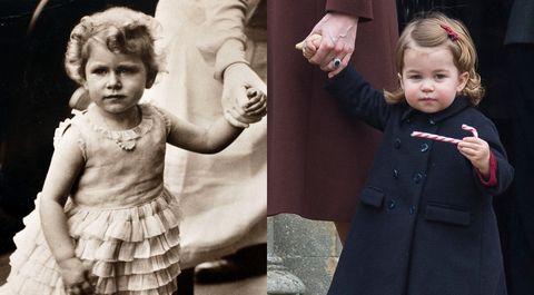 表情がそっくり!?女王の幼少期とシャーロット王女を比較♡