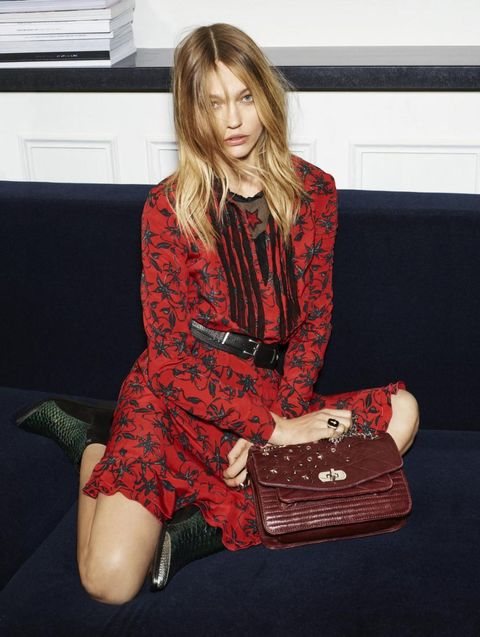 Red, Dress, Bag, Sitting, Pattern, Couch, Knee, Maroon, Blazer, Thigh,