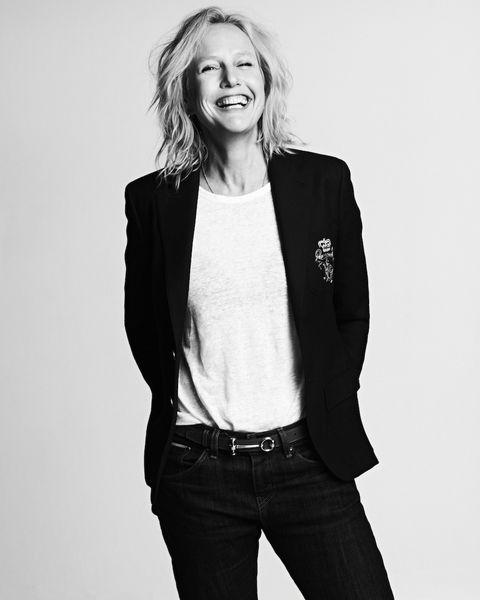White, Black, Photograph, Clothing, Outerwear, Black-and-white, Photo shoot, Standing, Blazer, Jacket,