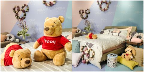 Stuffed toy, Teddy bear, Plush, Toy, Room, Bed sheet, Furniture, Textile, Interior design, Bedroom,