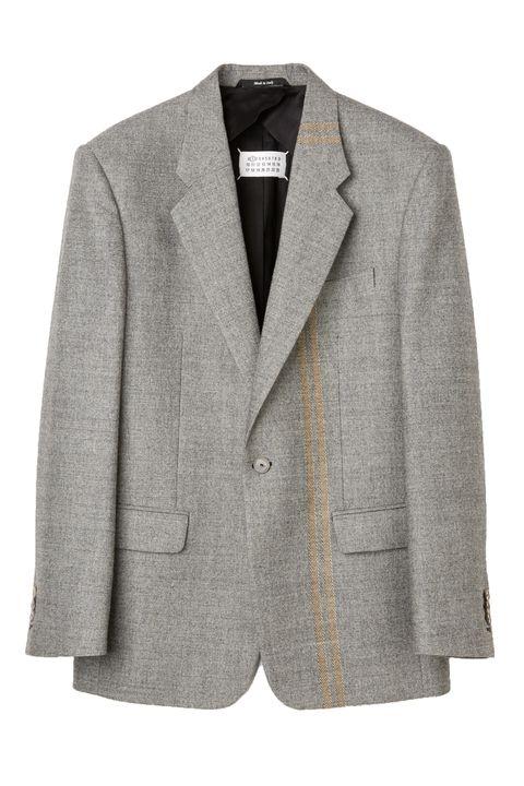 Clothing, Outerwear, Jacket, Blazer, Suit, Beige, Sleeve, Formal wear, Top, Button,