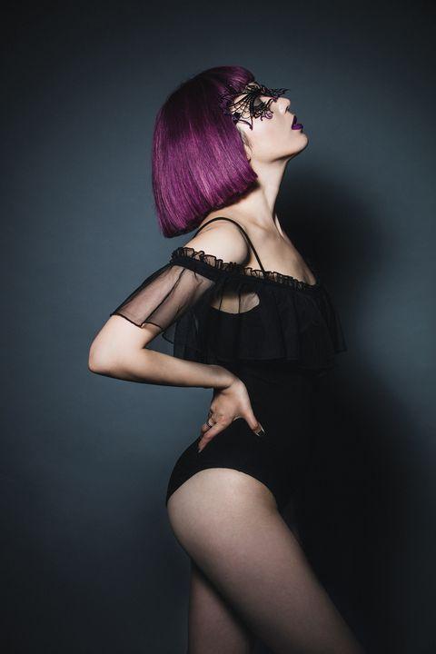 Hair, Purple, Clothing, Beauty, Lip, Violet, Skin, Pink, Fashion, Model,