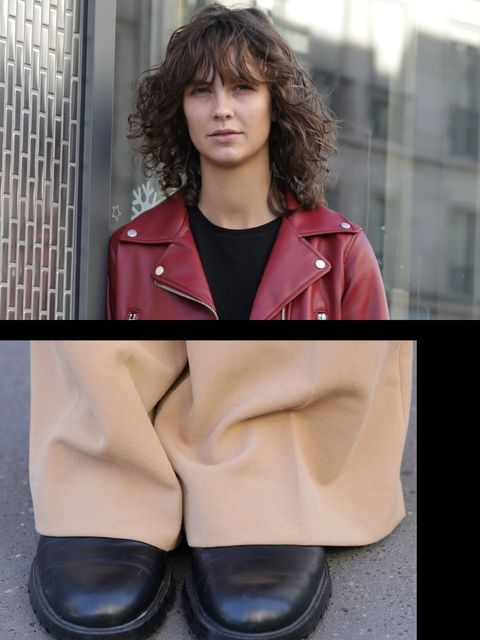 Clothing, Footwear, Outerwear, Pink, Street fashion, Fashion, Shoe, Leg, Leather, Material property,