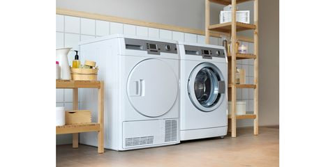 Washing machine, Major appliance, Clothes dryer, Laundry room, Laundry, Home appliance, Room, Furniture, Shelf, Material property,
