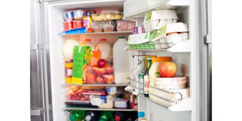 Refrigerator, Major appliance, Kitchen appliance, Home appliance, Shelf, Food group, Pantry, Furniture, Room, Food storage,