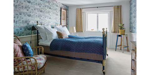 Bedroom, Furniture, Bed, Room, Bed frame, Bed sheet, Property, Blue, Wall, Interior design,