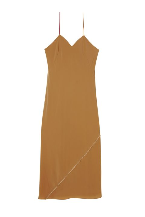 Clothing, Dress, camisoles, Brown, Yellow, Day dress, Beige, Cocktail dress, Neck, A-line,