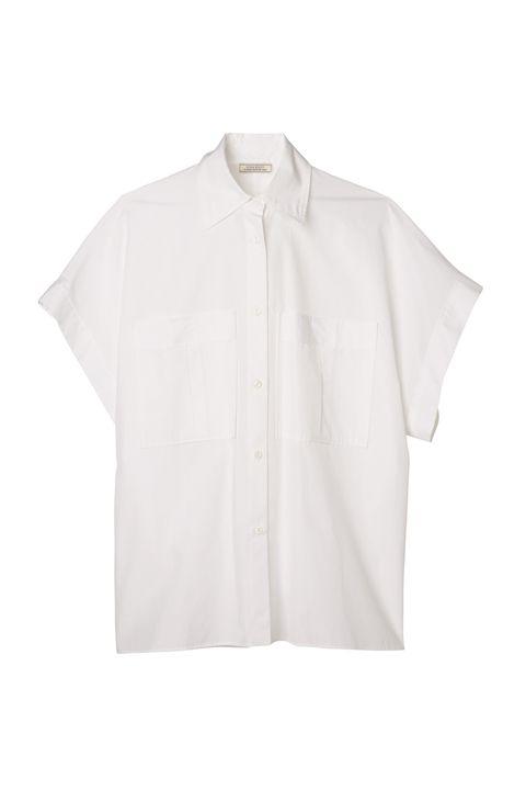 White, Clothing, Sleeve, Collar, Outerwear, T-shirt, Blouse, Shirt, Beige, Button,
