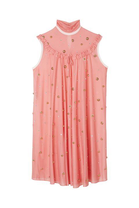 Clothing, Pink, Sleeve, Sleeveless shirt, Dress, Collar, Peach, Outerwear, Blouse, Button,