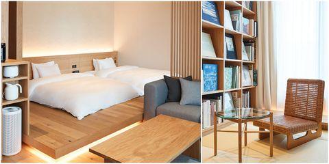 Furniture, Room, Shelf, Bed, Property, Interior design, Shelving, Table, Building, Floor,