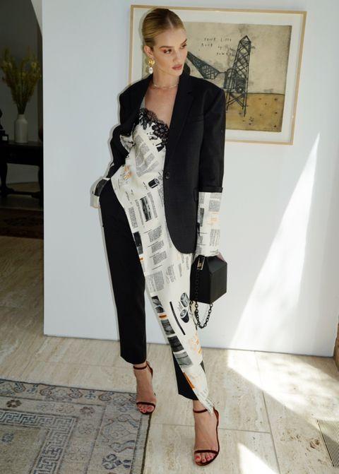 Clothing, White, Fashion, Shoulder, Outerwear, Suit, Blazer, Black-and-white, Formal wear, Fashion design,