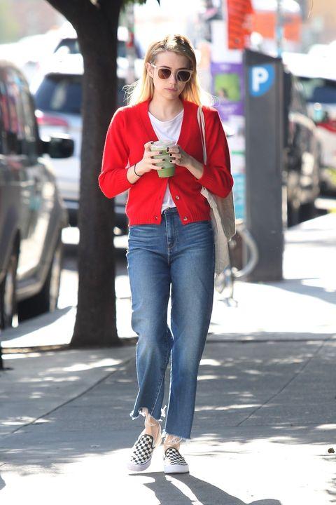 Jeans, Clothing, Street fashion, Red, Denim, Footwear, Snapshot, Fashion, Hairstyle, Shoulder,