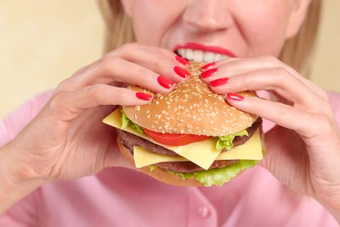 Junk food, Food, Fast food, Eating, Pink, Hamburger, Hand, Sandwich, Dish, Whopper,