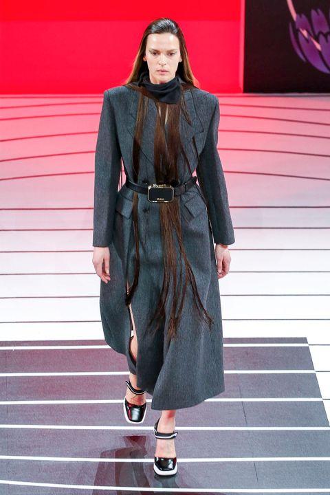 Fashion, Runway, Clothing, Fashion model, Fashion show, Street fashion, Outerwear, Coat, Footwear, Leather,