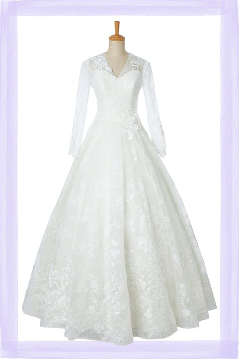 wedding dress primacara vneck lace long sleeve
