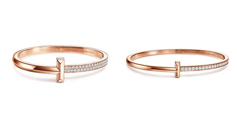 tiffany 情人節玫瑰金手鍊推薦 tiffany t1 18k玫瑰金寬版鑲鑽手環 tiffany t1 18k玫瑰金窄版鋪鑲鑽石手環