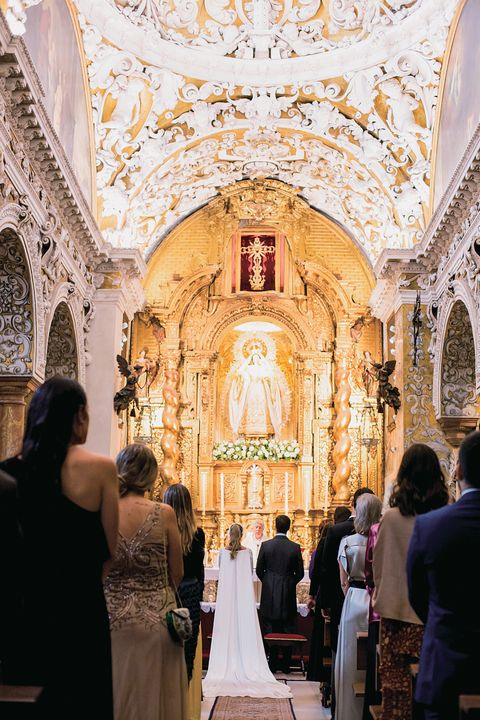Dress, Interior design, Church, Bridal clothing, Religious institute, Formal wear, Chapel, Ceremony, Place of worship, Ceiling,