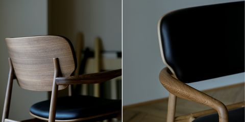 Brown, Product, Furniture, Chair, Line, Hardwood, Material property, Design, Armrest, Still life photography,
