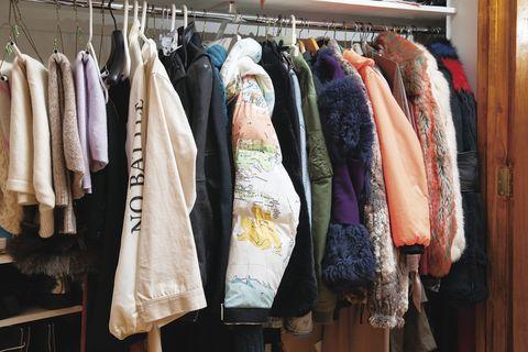 Room, Textile, Clothes hanger, Collection, Shelving, Closet, Wardrobe,