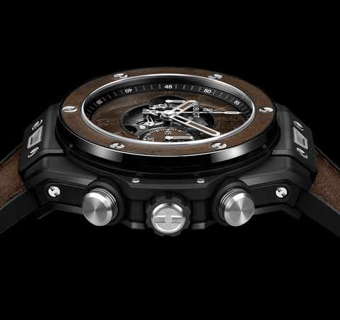 the bezel and strap are both made of leather, and designed to age in tandem