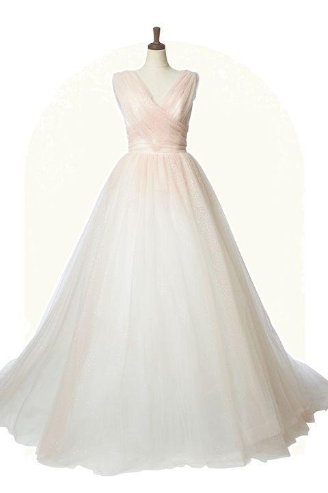 「ミラー ミラー 丸の内」取り扱い、「デヴィッド・フィールデン」のピンクベージュのグラデーションカラーにグリッター付きaラインドレス