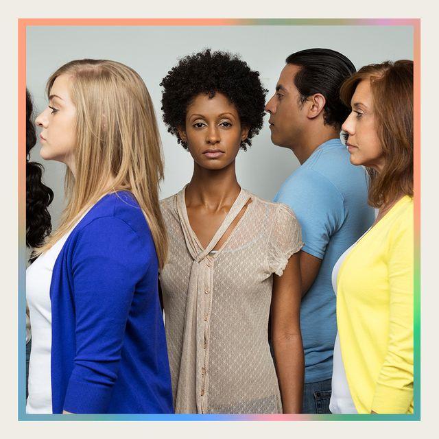 woman feeling alone in group