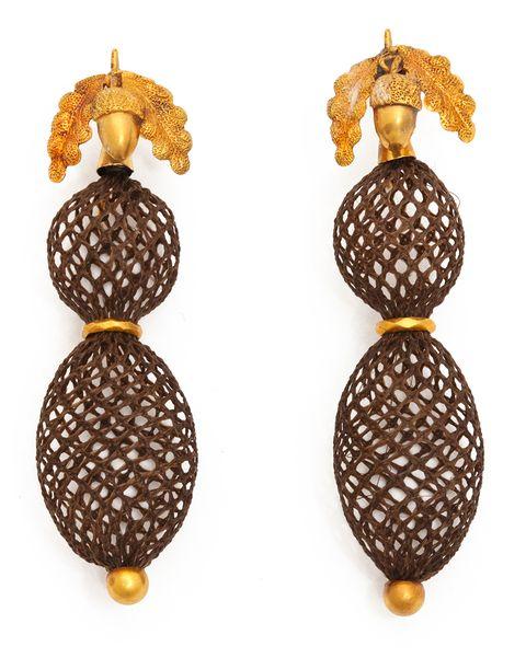 woven hair earrings