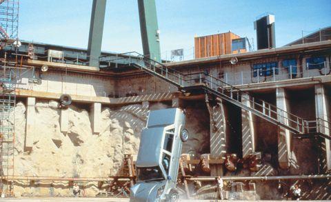 Construction, Vehicle, Construction equipment, Demolition, Crane, Reinforced concrete, Building, House, Metal, Steel,