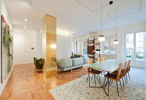 Floor, Lighting, Flooring, Interior design, Room, Wood, Property, Table, Ceiling, Wall,