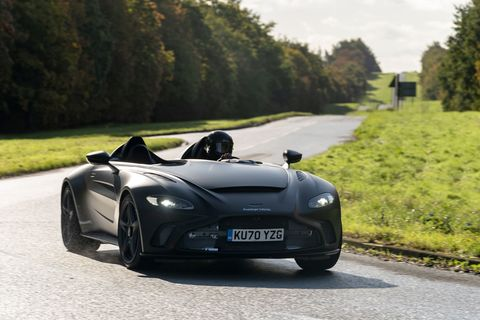 aston martin v12 speedster on the road