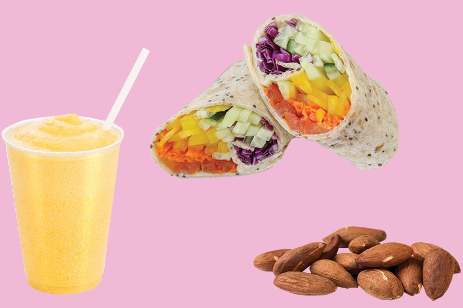 Tuesday multivitamin eating plan smoothie wrap almonds