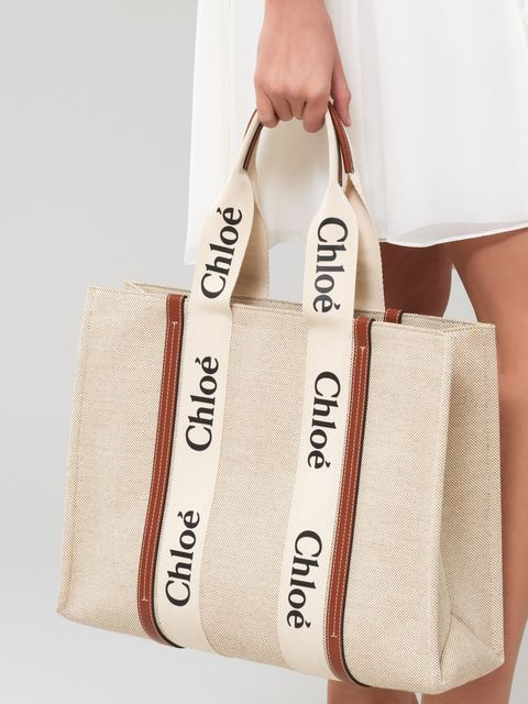 chloewoody咖啡色皮革飾邊大型托特包